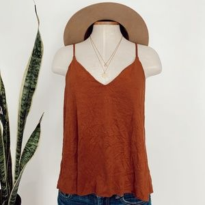 • FOREVER 21 • burnt orange suede open back top